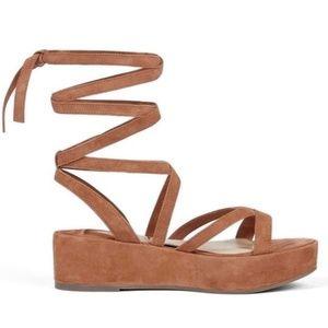 NEW Klik Ankle Wrap SuedeGladiator Platform Sandal